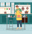 male preparing dish in kitchen at home vector image vector image