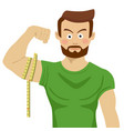 man flexing bicep and measuring it with tapeline vector image vector image