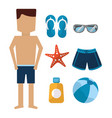 man standing with swimsuit sandals sunglasses vector image