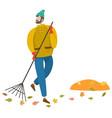 man sweeping foliage broom autumn weather