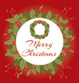 merry christmas holly berry mistletoe wreath vector image vector image
