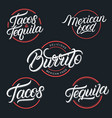mexican food and drink tequila tacos burrito vector image