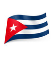 national flag of cuba blue and white stripes red vector image vector image