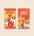 packaging template with dogs and food design vector image vector image