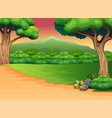 panoramic green forest landscape with silhouette m vector image