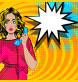 pop art cartoon woman talk hold hand retro phone vector image vector image