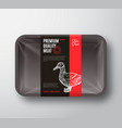 premium quality duck meat package and label stripe vector image vector image