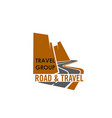 road and travel company sign vector image vector image