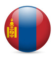 Round glossy icon of mongolia vector image vector image