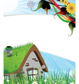 Rural brick house vector image