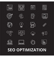 seo optimization editable line icons set on vector image vector image