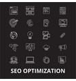 seo optimization editable line icons set on vector image