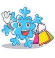 shopping snowflake character cartoon style vector image