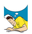 sleeping man art in pop art style eps 10 vector image vector image