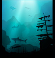 underwater world with sharks and sunken ship vector image