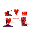 valentines day flat tiny vector image