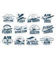 vintage plane isolated icons air travel aircraft