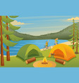 young people activity cycling camping flat 2d vector image