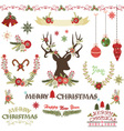 Merry ChristmasChristmas Flowers set vector image