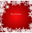 Red and white shiny Christmas snowflake background vector image
