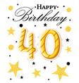 40th happy birthday logo beautiful greeting card