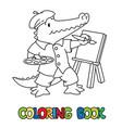 alligator artist coloring book animal alphabet