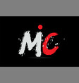 alphabet letter combination mc m c with grunge vector image vector image