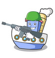 army ship character cartoon style vector image