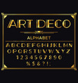 art deco font golden 1920s decorative letters vector image