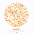 bakery concept in circle with thin line icons vector image vector image