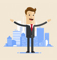 business man standing with open arms on the vector image