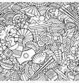cartoon doodles japan seamless pattern vector image