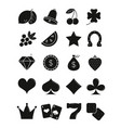 Casino black sihlouettes icons set