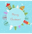 Christmas earth holiday background Round Banner vector image