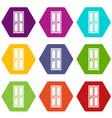 closed wooden door icon set color hexahedron vector image vector image