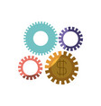 colorful silhouette of gears representing economic vector image