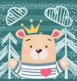 cute princess teddy bear vector image vector image