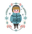 cute winter baby boy in warm clothes vector image vector image
