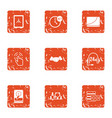 data retention icons set grunge style vector image vector image