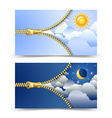 Day and night cards vector image