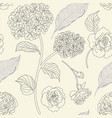 drawn hydrangea roses and leaves seamless pattern vector image vector image