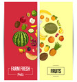 farm fresh fruit flyers set vector image vector image