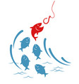 fishes jumping out of the water to the hook vector image vector image