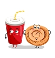 Funny take away glass and cookie cartoon character vector image vector image