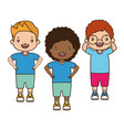 girl and boys happy cartoon vector image vector image