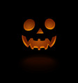 glowing scary face pumpkin isolated on black vector image vector image