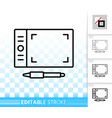 graphic tablet simple black line icon vector image vector image