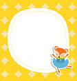greeting card with cartoon fox greeting card with vector image vector image