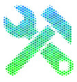 halftone blue-green hammer and wrench icon vector image vector image