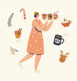 happy female character carry tray with hot drink vector image